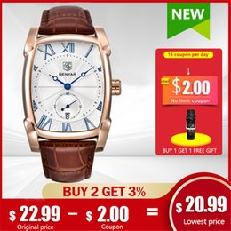 leather strap watch white men UK - BENYAR Watches Men Quartz Mens Wristwatches Leather Strap Casual Square Watch Waterproof Relogio Masculino