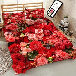 white bedding pink roses Australia - 3d Digital Printing Red Rose Bedding Luxury Home Textiles King Size Bedding Set Bed Sheet Duvet Cover And Pillow Case