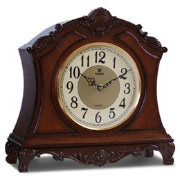 antique table desk Canada - POWER High-end Solid Wood Desk Clock Silent Quartz Movement Table Clock Hand Carved Pattern Music Hourly Chiming Masa Saati Saat