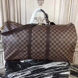 2020 NUOVI uomini duffle donne borsa da viaggio borse bagaglio a mano degli uomini dell'unità di elaborazione borse in pelle di grande corpo croce totes del sacchetto 55cm in Offerta