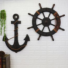 antique ship anchors 2020 - Wood Mediterranean Ship Wooden rudder helm Ship Anchor antique home decor wall decoration vintage room decoration access