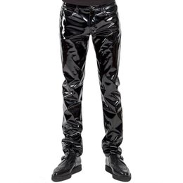 pantalon punk maigre pour les hommes achat en gros de-news_sitemap_homeNew Automne PU Pantalon en cuir pour homme style punk Skinny Party scène Performance Night Club Sexy solides Faux PU Pantalon en cuir