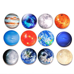 magnet cartoon Australia - 30mm Creative Crystal Refrigerator Sticker Multi Cartoon Space Moon Planet Glass Removable Fridge Magnets Home Décor HA1039