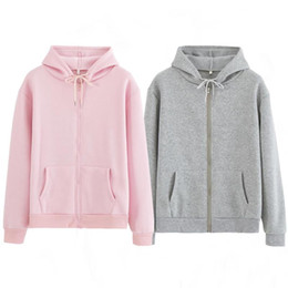 winter warm hoodie zip up NZ - Women Sweatshirt Casual Solid Colors Oversized Full Zip-Up Hoodies Jacket 2020 Winter Velvet Thickening Warm Tops Long Sleeve