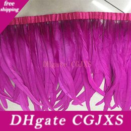 rooster dress NZ - 2Yards pcs Fushia Rooster Feather Trimming Chicken Feather on Satin Coque Rooster Hackle Feather Trim Fringe Party Dress Accessories