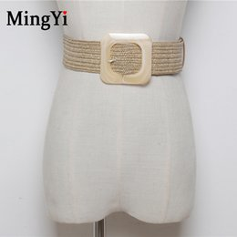handmade weaving belts NZ - Vintage Knitted Wax Rope Handmade Woven Elastic Braided Belt Women Khaki Smooth Square Buckle Wide Waistband Fake PP Straw Belts