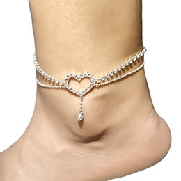 girls feet sandals Canada - New 12pcs lot Star Heart Charms Rhinestone Chain Anklet Ankle Bracelet Sexy Barefoot Sandal Beach Foot Jewelry For Women