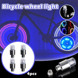 stems bicycle Australia - 4Pcs Bike Bicycle Lights Bicycle Wheel Tyre Tire Aluminum Air Valves Stem Cap Wheel Decoration Lamp Colorful LED Flashing Light