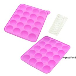 cake pop silicone mould UK - 20 Holes Silicone Cake Pop Mold Ball Shaped Die Molds Moulds Silicone Lollipop Chocolate Cake Baking Ice Tray Stick Tool DBC BH3771