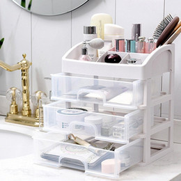 box drawers Australia - Behogar 4-layers Transparent Plastic Cosmetic Makeup Jewelry Stationery Drawers Storage Rack Box Organizer for School Office YCa8#