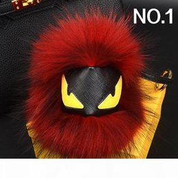 make keychains UK - Fashion luxury designer cute lovely little moster hand made real fur leather handbag charms car keychains