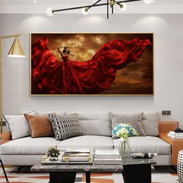 oil painting women red UK - 1 Panel Fashion And Sexy In Red Skirt Woman Oil Painting on Canvas Posters and Prints Scandinavian Wall Art Picture No Frame