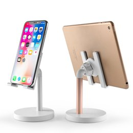 universal adjustable tablet stand UK - Aluminum Alloy IPhone Tablet Desktop Live Broadcast Stand Metal Adjustable Lazy Universal Stand Suitable for Apple Samsung Xiaomi Stand