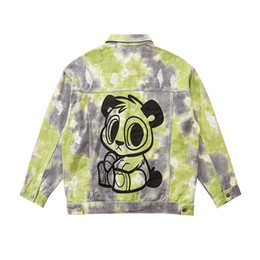 Wholesale men cartoon jackets online – oversize Cartoon Tie Dye Jeans Jackets Men and Women Harajuku Oversize Washed Denim Coat Loose Casual Windbreaker Bomber Jacket