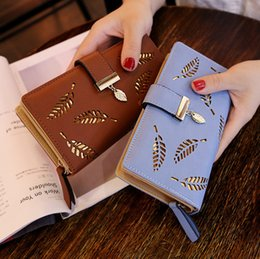 leaf leather purses UK - 2020 Fashion Women Wallet Leather Purse Female Long Wallet Hollow Leaves Pouch Handbag For Ladies Coin Purse Card Holders Clutch