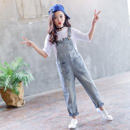 vintage tutus for girls UK - 2019 Children Teens Girls Vintage Denim Loose Jumpsuit Overalls Playsuit For Girls School Jeans Jumpsuits Romper Clothes Outfits CX200720