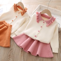 cashmere dresses sale Canada - Girls' woolen dress Wool dress customized for school season Korean knitted set for baby girls two-piece set hot sale