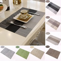 insulation pad waterproof Canada - Kitchen Dining Table Mats Heat Insulation Non-slip Stripe Pads Waterproof Placemat Set