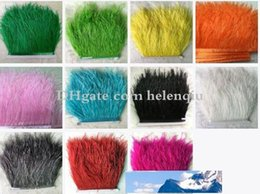 craft boas Canada - 10yard lots Muticolor Long Ostrich Feather Plumes Fringe trim 8-10cm Feather Boa Stripe for Party Clothing Accessories Craft