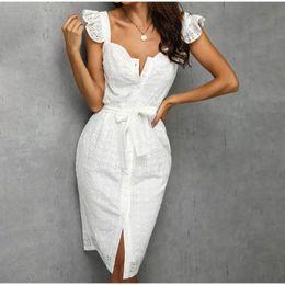 Wholesale white midi fashion dresses for sale – plus size Elegant White Hollow Out Dresses Women Ruffles Sleeveless Lace Belt Female Midi Dresses Summer Fashion Lady Vestidos