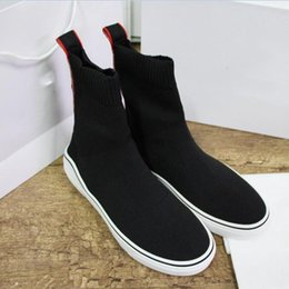 shoes cloth straps UK - Designer fashion luxury 2019 brand men shoes Original High top socks shoes best quality womens sneakers Black grey mesh cloth Casual Shoes