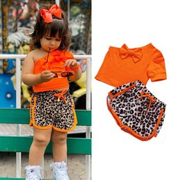 kids tracksuits wholesalers Canada - Summer leopard girls casual pants girls tracksuit baby tracksuit kids designer clothes girls outfits T shirt+shorts 2pcs set 1-5Y B1606