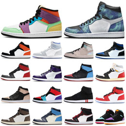 Wholesale ivory fabric dye resale online - Mens s high og basketball shoes jumpman Royal Toe Obsidian UNC Patent Pine Green Fearless Tie Dye men women trainers sports sneakers