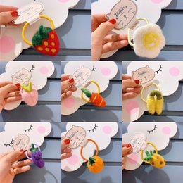 strawberries hair accessories UK - C80bt Korean cute children's accessories fruit and vegetable bands girls' strawberry band Fruit hair rope handmade wool felt hair rope baby