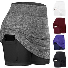 womens white yoga pants UK - Womens Athletic Tennis Skirt with Shorts Golf Skirts Elastic Sports Fitness Running Yoga Skirt with Pockets