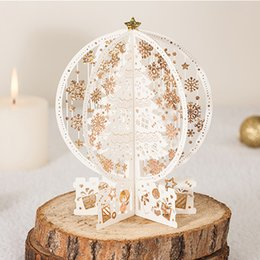 """Wholesale 3D Up Christmas Greeting Card Laser Cut """"Merry Christmas"""" Deer Santa 3d Red Gold Cards With Envelope 10 pieces per lot"""