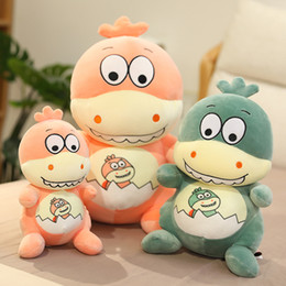 cartoon sleeping children Australia - Cute eggshell dinosaur stuffed toy cartoon animal plush doll girl sleeping soft pillow child comfort toy creative birthday Christmas gift