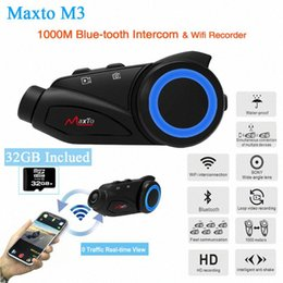 m3 cards Canada - Maxto M3 Motorcycle Group 6 Riders Motorbike Helmet Intercom Interfono Moto Bluetooth & WIFI Recorer Interphone with 32GB card UtAU#