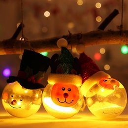 christmas glass gifts Australia - Transparent Glowing Christmas Ball Merry Xmas Snowman Tree Hanging Ball with Lights Decoration Christmas Kids Gifts DHA541