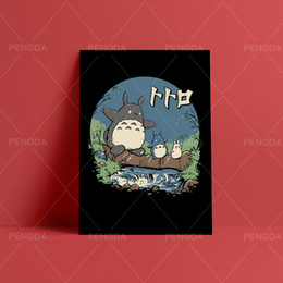 panel anime canvas prints Canada - Paintings Wall Art My Neighbor Totoro Canvas Modular Hayao Miyazaki Pictures Print Japan Anime Movie Poster Home Decor Bedroom