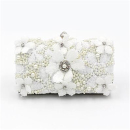 flower clutch bags NZ - ABERA 2020 handmade flowers evening bags white lace party dinner clutch purse bride beads embroidery wallets drop shipping MN1508