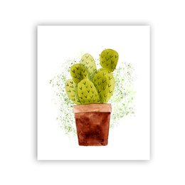 painting pots NZ - Pot Cactus Canvas Art Print Poster, Watercolor Cactus Pots Wall Pictures for Home Decoration, Giclee Print Tropical Wall Decor