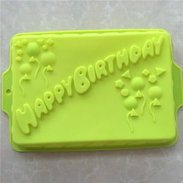 bakery kitchen NZ - Big Rectangle Happy Birthday Silicone Cake Mold Bakeware Form For Cake Bakery Kitchen Accessories Bake Tools 34*23*4.5cm E066 T200524