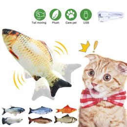 simulation animal toys Canada - DHL Shipping 30CM Electronic Pet Cat Toy Electric USB Charging Simulation Fish Toys Funny Cat Chewing Playing Supplies Dropshiping