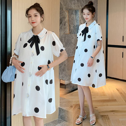 Wholesale maternity clothes collar for sale - Group buy 189 Maternity Clothes Summer Chiffon Short Sleeve Bow Collar Loose Stylish Dress for Pregnant Women Pregnancy Clothes