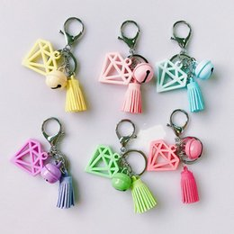 keys bell NZ - Creative New Multi Color Exquisite Bell Tassel Key Chain Car Bag Pendant Accessories Small Gifts Keychain Lanyard Name Keychains From A5Rl#