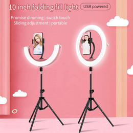 wholesale temperature switch UK - selfie ring light with tripod 10 inch three colors temperature touch switch folding fill light 180° flexible three brightness LED ring light