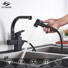 pull out spray kitchen UK - Uythner Black Kitchen Faucets Dual Spout Pull Out Kitchen Tap With Spray Kitchen Water Taps Hot&Cold Water Mixer Deck Mounted T200424