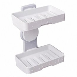 double suction cups UK - Double Layers Powerful Suction Cup Soap Dish Holder Wall Mounted for Bathroom Shower Soap Holder Saver Box Storage Organizer Rac HbFF#