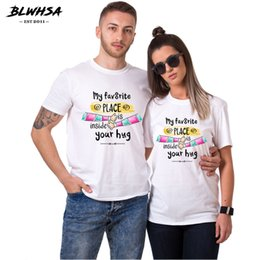 place clothing Australia - Couple T Shirt For Lovers My Favorite Place Is Inside Your Hug Clothes Tees Couple Graphic Unisex Short Sleeve T-Shirt