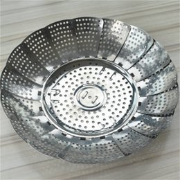 stainless vegetable steamer Australia - Stainless Steel Steamer Disc Collapsible Lotus Flower Telescopic Multi Function Food Fruit Vegetable Tray For Kitchen Cooking 3 9hs H1