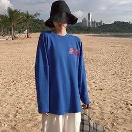 Wholesale couple tshirt long sleeves for sale – custom Harajuku Loose Couple Tee New Women T shirts Womens Street Ulzzang Letter Print O Neck T shirt Long Sleeve oversized tshirt Tops