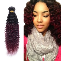 bundles curly hair sale Australia - Newest and Fashional ombre color curly hair 1B Burgundy kinky curly Brazilian human hair bundles for sale
