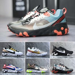 canvas sailing shoes Australia - React Element 87 Undercover Men Running Shoes For Women Designer Sneakers Sports Mens Trainer Shoes Sail Light Bone Royal Tint TL4-A