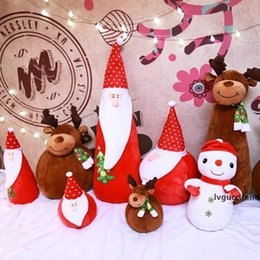 stuffed plush santa Canada - Christmas Plush Doll Toys For Santa Clause Snowman Reindeer Plush Stuffed For Children Kids Adult Xmas Gift Home Decoration HH9-2495