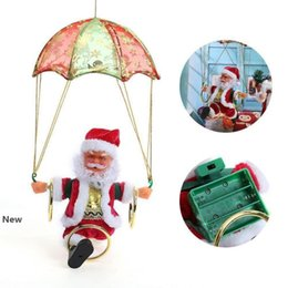 santa claus decoration parachute Canada - Electric Christmas Santa Claus Toys Hanging Rotation Parachute Turn Musical Pendant Plush Toy Electric Plush Dolls hot GGA2866